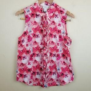 2/$25 Loft Pink Floral Ruffle Button Down Tank MD